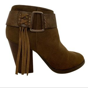 Kensie Maybella Olive Green Suede Ankle Boots